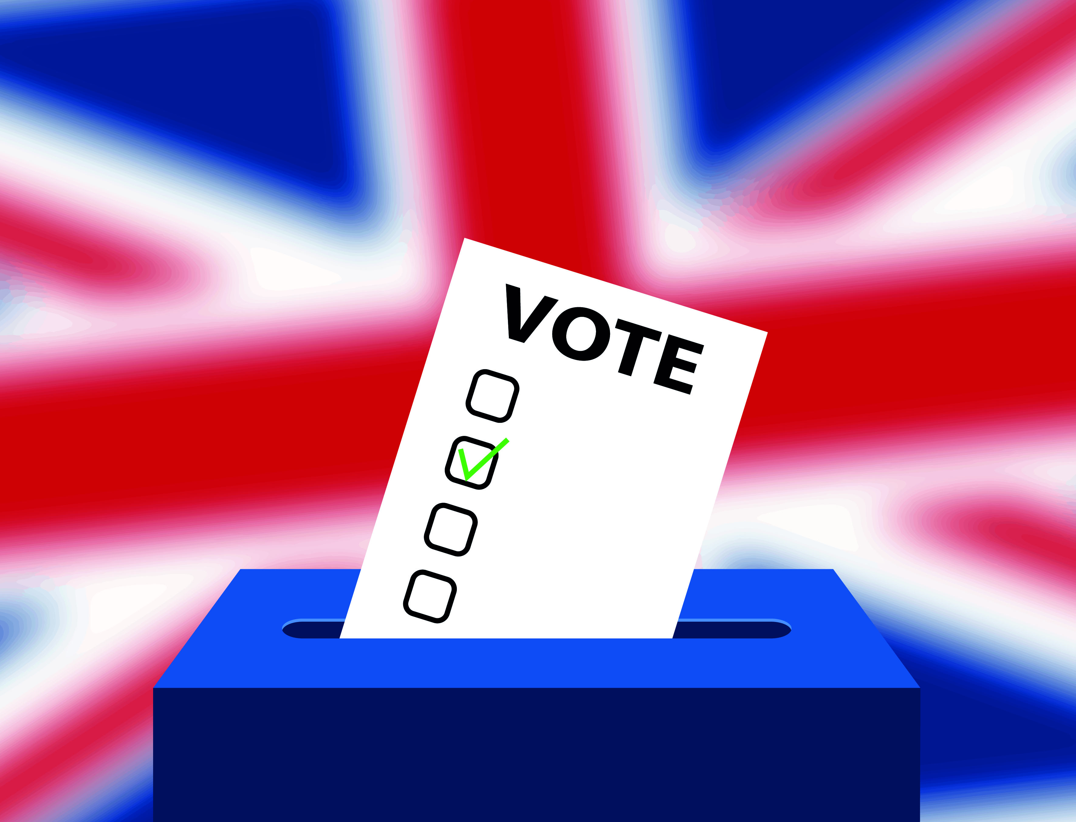 union jack and voting ballot